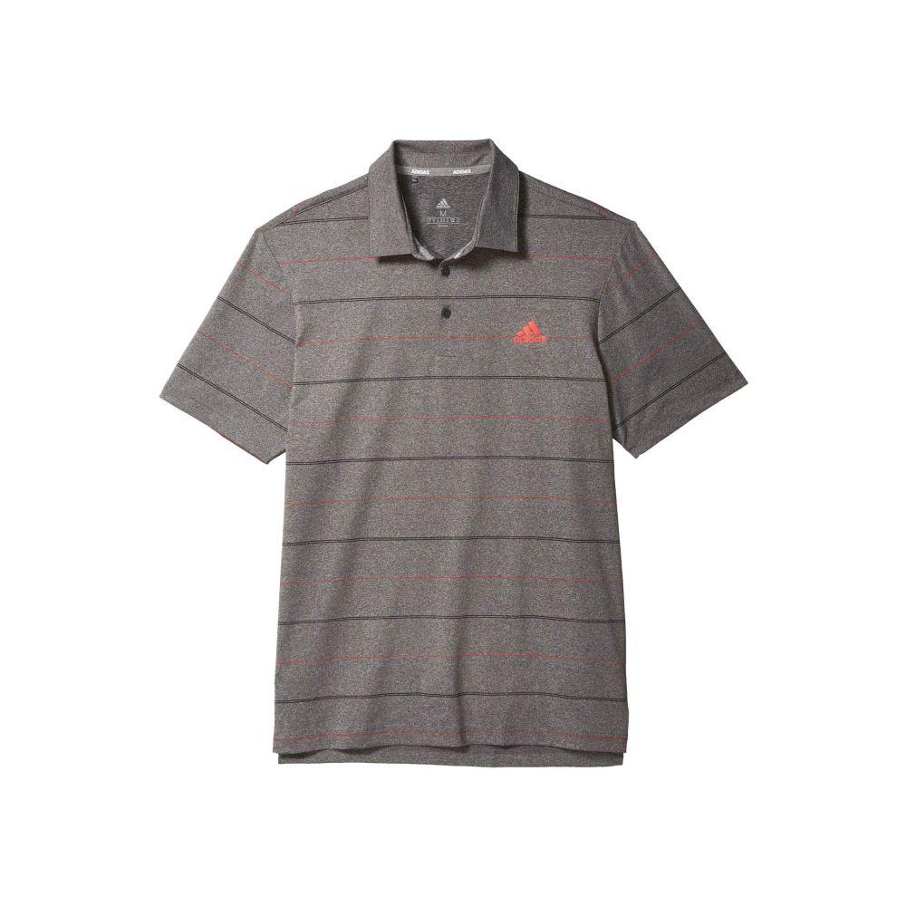アディダス adidas Golf メンズ ポロシャツ トップス【Ultimate365 Heathered Stripe Polo Shirt】Black Melange/Real Coral/Black
