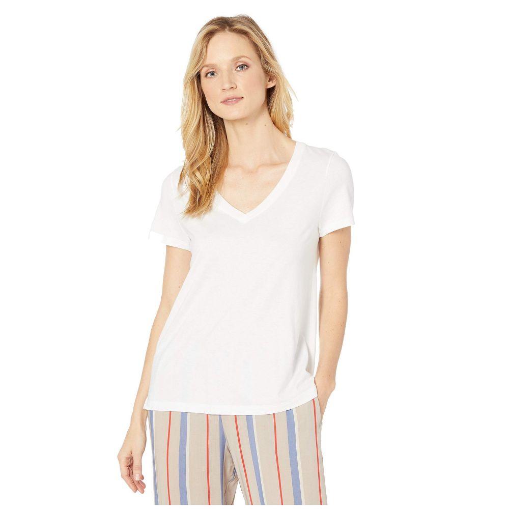 ハンロ Hanro レディース Tシャツ Vネック トップス【Sleep & Lounge Short Sleeve V-Neck Shirt】White