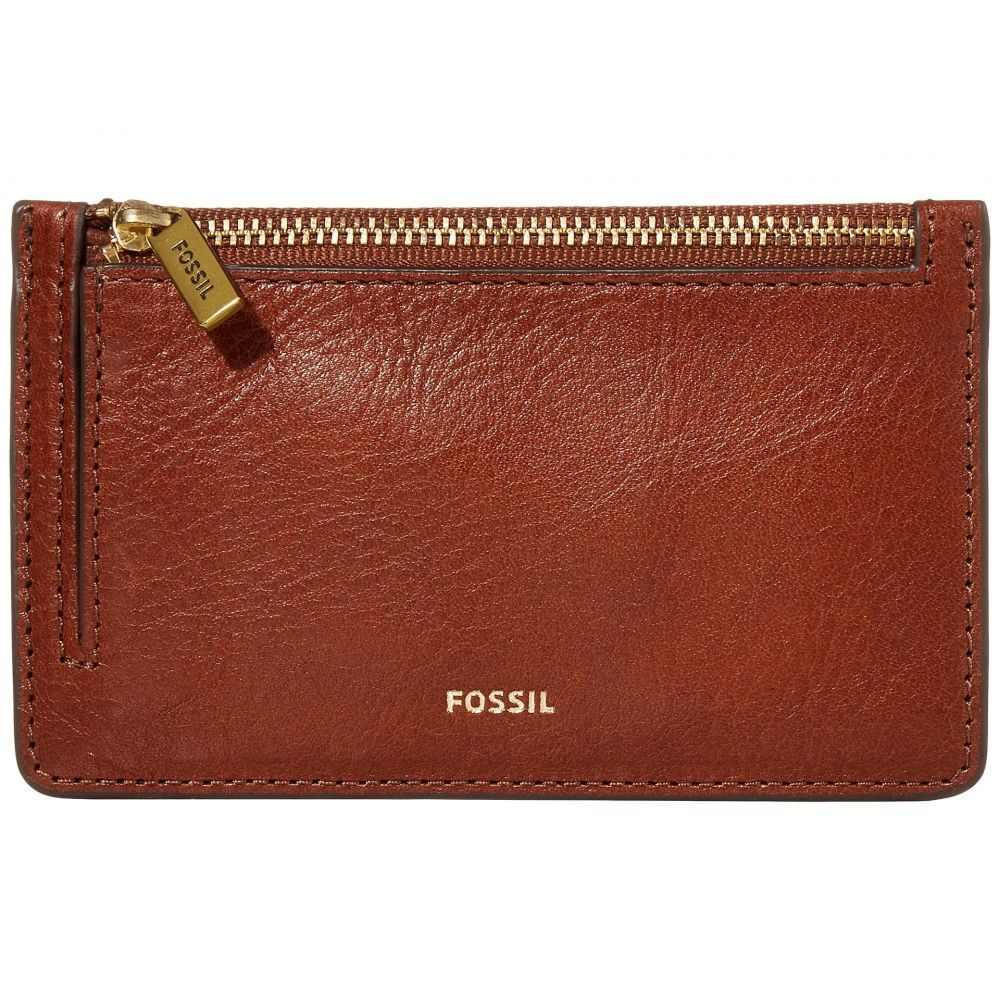 フォッシル Fossil レディース カードケース・名刺入れ 【Logan Zip Card Case Wallet】Brown