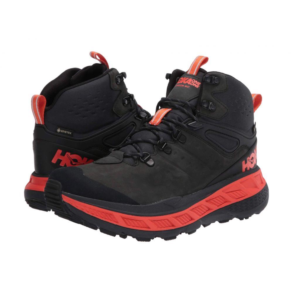 ホカ オネオネ メンズ ハイキング・登山 シューズ・靴 Anthracite/Mandarin Red 【サイズ交換無料】 ホカ オネオネ Hoka One One メンズ ハイキング・登山 シューズ・靴【Stinson Mid GORE-TEX】Anthracite/Mandarin Red