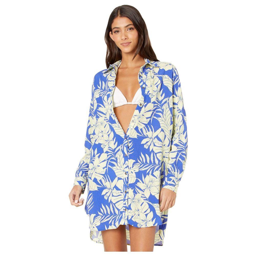 マージ Maaji レディース ビーチウェア シャツワンピース ワンピース・ドレス 水着・ビーチウェア【Serene Breeze Shirtdress Cover-Up】Pacific Blue Floral