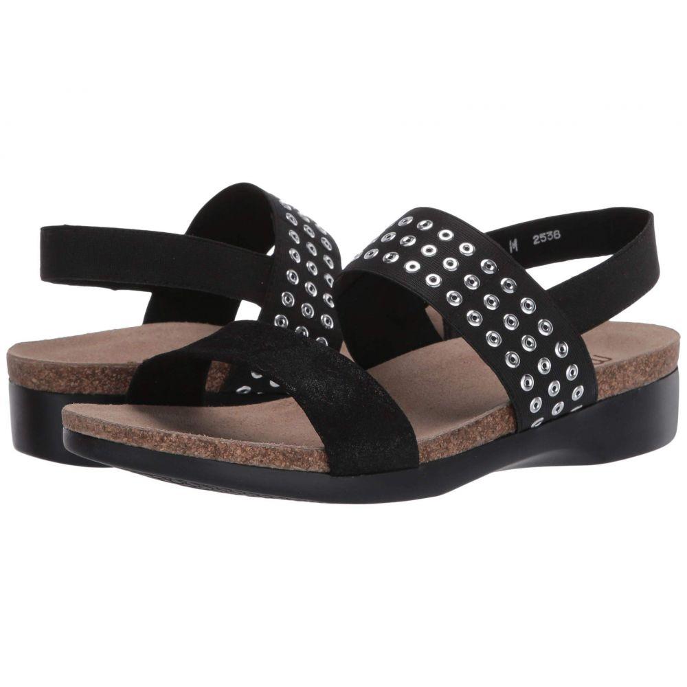 マンロー Munro レディース サンダル・ミュール シューズ・靴【Pisces】Black Suede Grommet Fabric Combo