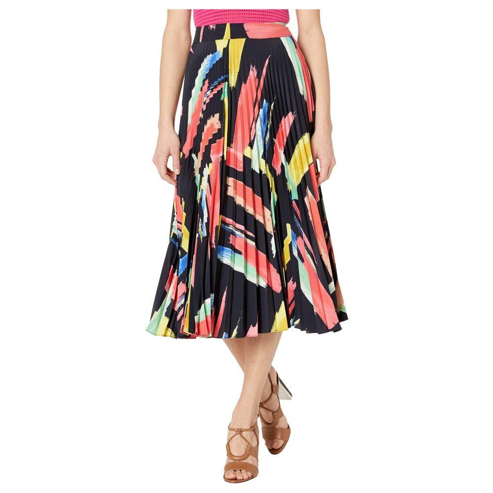 ミリー Milly レディース スカート 【Modern Brushstroke Print on Poly Twill Pleated Skirt】Multi