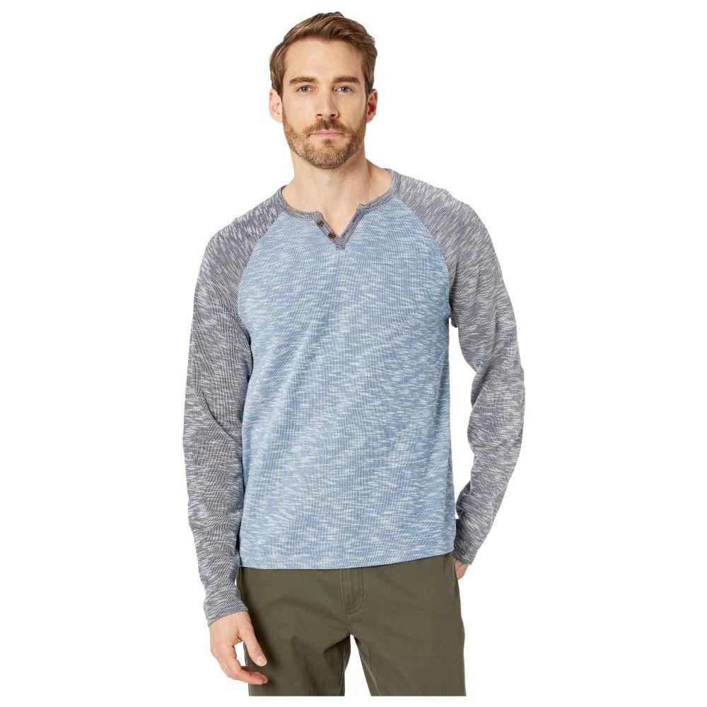 ラッキーブランド Lucky Brand メンズ 長袖Tシャツ トップス【Long Sleeve Color Block Button Notch Top】Blue Multi
