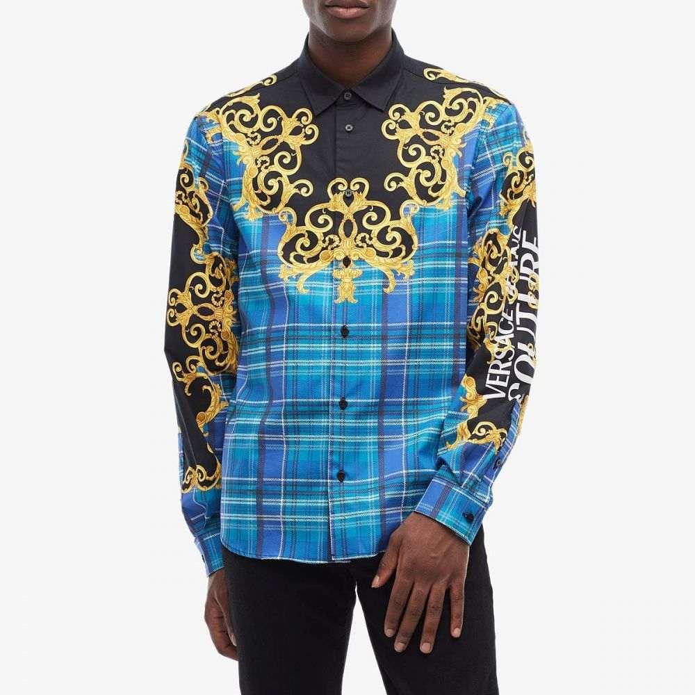 ヴェルサーチ Versace Jeans Couture メンズ シャツ トップス【Baroque Plaid Print Shirt】Light Blue