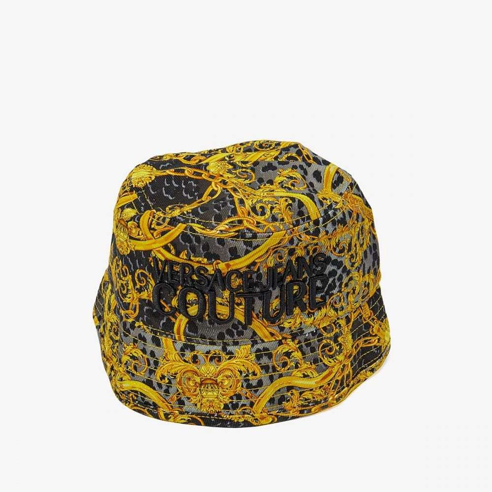 ヴェルサーチ Versace Jeans Couture メンズ ハット バケットハット 帽子【Leo Chain Print Bucket Hat】Black