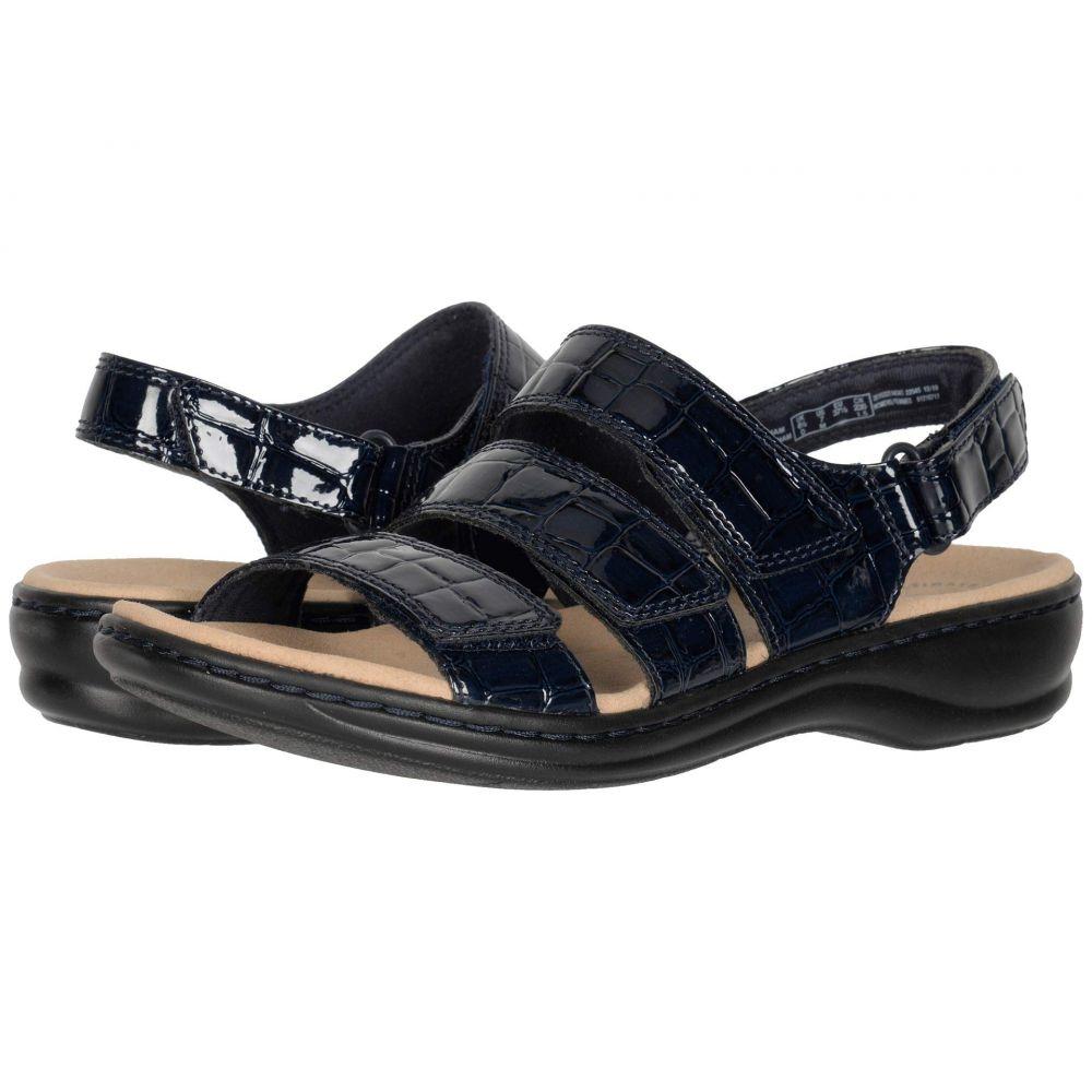 クラークス Clarks レディース サンダル・ミュール シューズ・靴【Leisa Melinda】Navy Patent Croc Synthetic