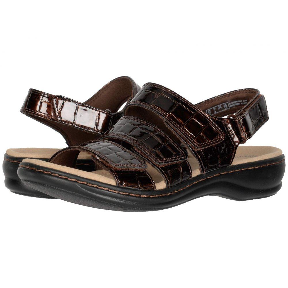 クラークス Clarks レディース サンダル・ミュール シューズ・靴【Leisa Melinda】Brown Patent Croc Synthetic
