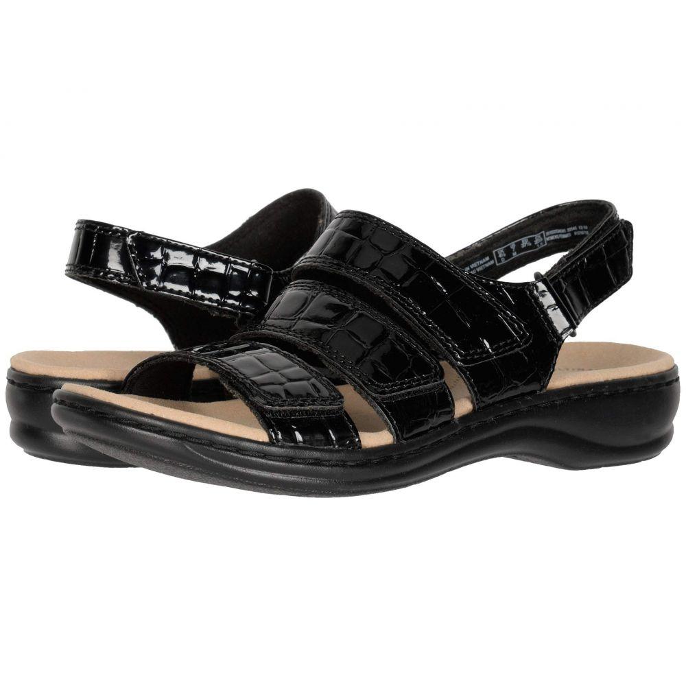 クラークス Clarks レディース サンダル・ミュール シューズ・靴【Leisa Melinda】Black Patent Croc Synthetic