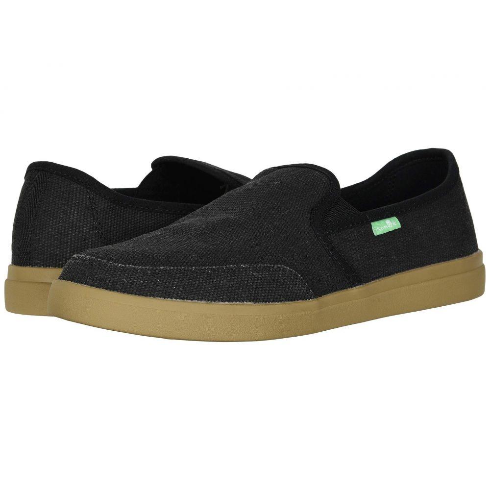 サヌーク Sanuk メンズ スリッポン・フラット スニーカー シューズ・靴【Vagabond Slip-On Sneaker】Black/Gum