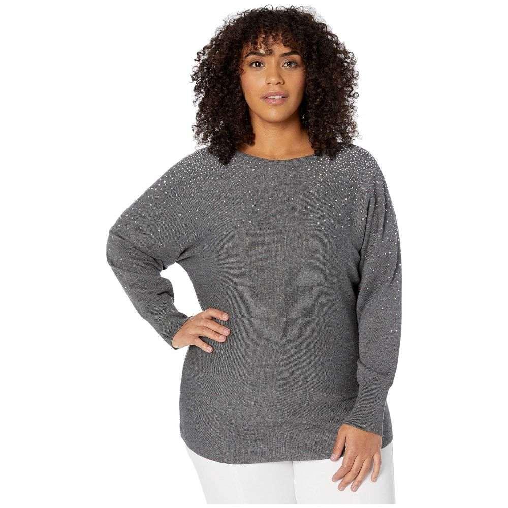 ヴィンス カムート Vince Camuto Specialty Size レディース ニット・セーター 大きいサイズ Vネック トップス【Plus Size Long Sleeve All Over Embellished V-Neck Sweater】Medium Heather Grey