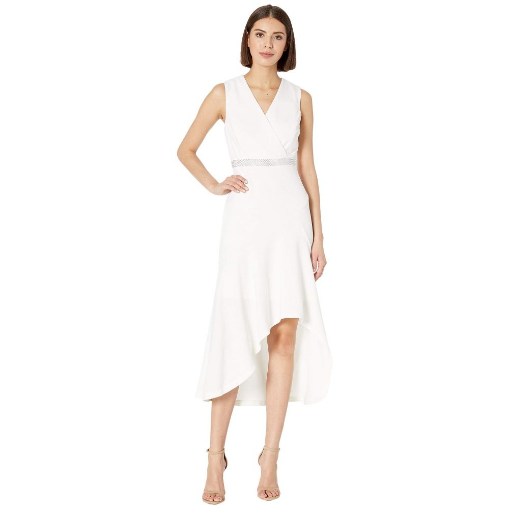 カルバンクライン Calvin Klein レディース パーティードレス ワンピース・ドレス【High-Low Gown with Embellished Waist】Cream