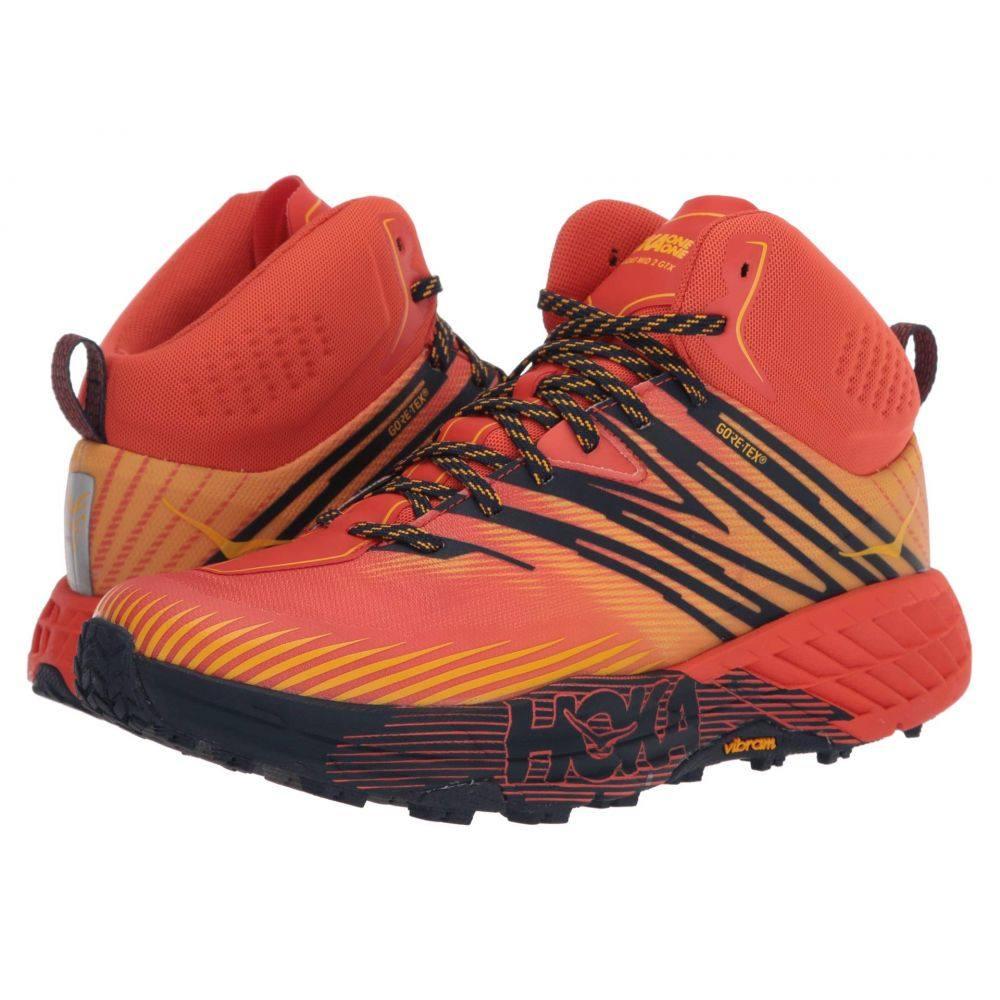 ホカ オネオネ Hoka One One メンズ ランニング・ウォーキング シューズ・靴【Speedgoat Mid 2 GTX】Mandarin Red/Gold Fusion