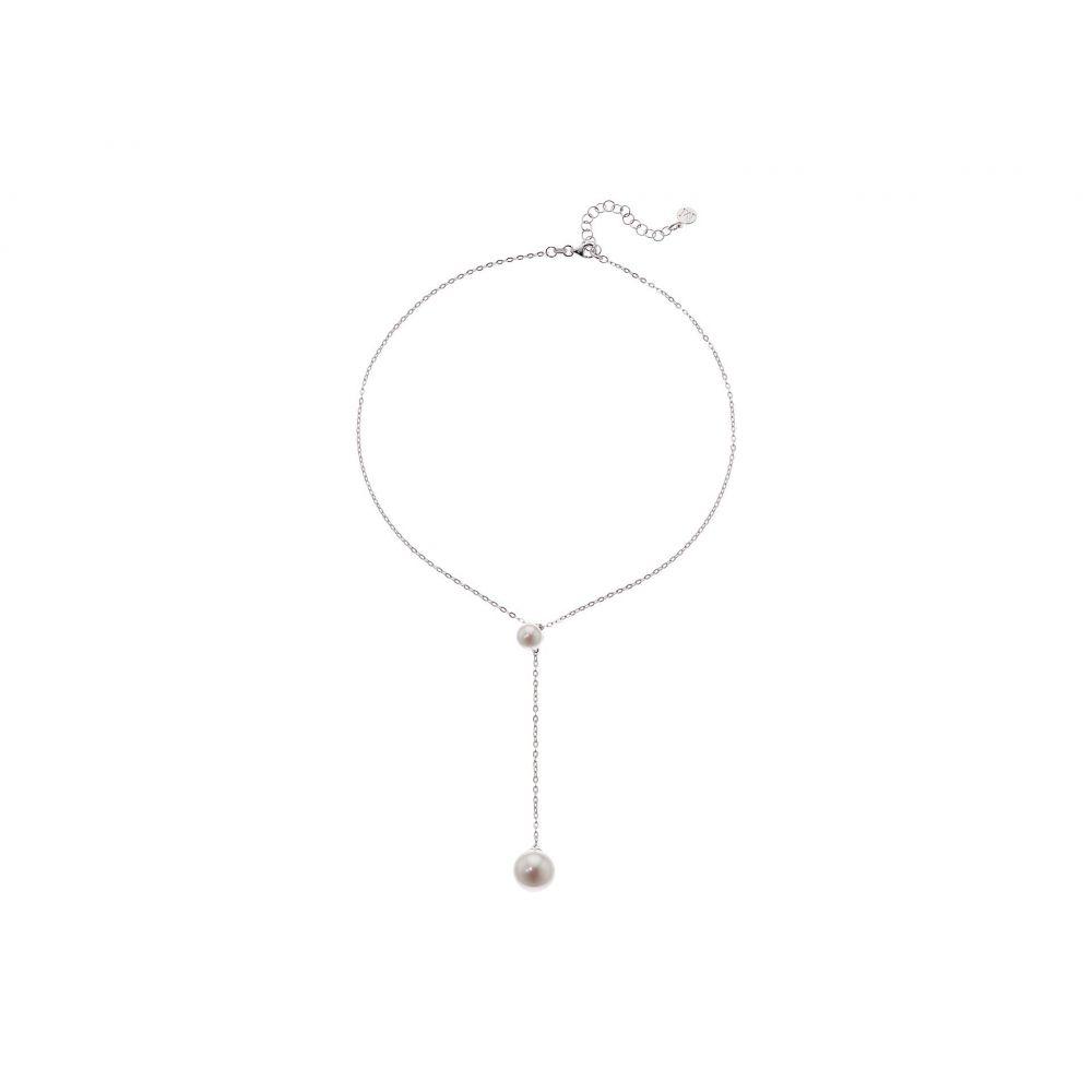 マジョリカ Majorica レディース ネックレス ジュエリー・アクセサリー【Rosa 8- 12mm White Pearls Chain Pendant in Silver】White