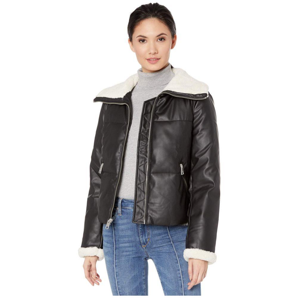 リーバイス Levi's レディース ダウン・中綿ジャケット アウター【Faux Leather Puffer with Sherpa】Black/Cream
