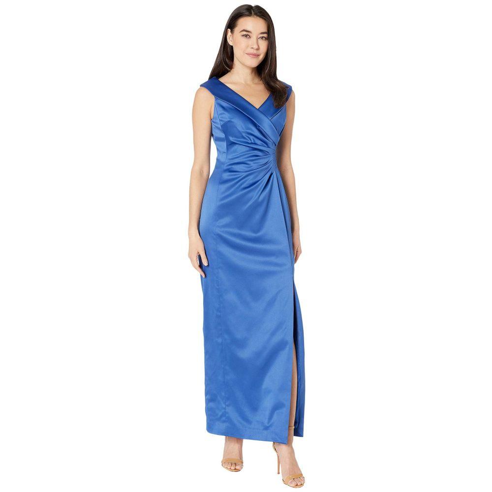 タハリ Tahari by ASL レディース パーティードレス ワンピース・ドレス【Petite Stretch Satin Side Draped Long Gown】Cerulean Blue