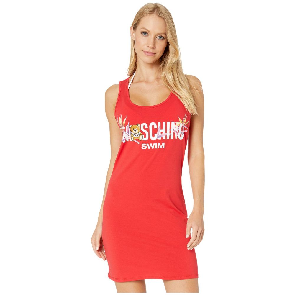 モスキーノ Moschino レディース ビーチウェア ワンピース・ドレス 水着・ビーチウェア【Bear + Palms Beach Cover-Up Dress】Red