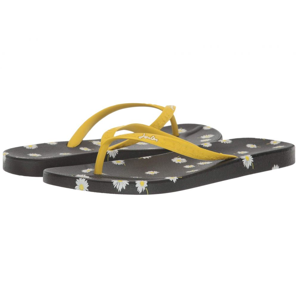 ジュールズ Joules レディース ビーチサンダル シューズ・靴【Flip-Flops】Black Daisy