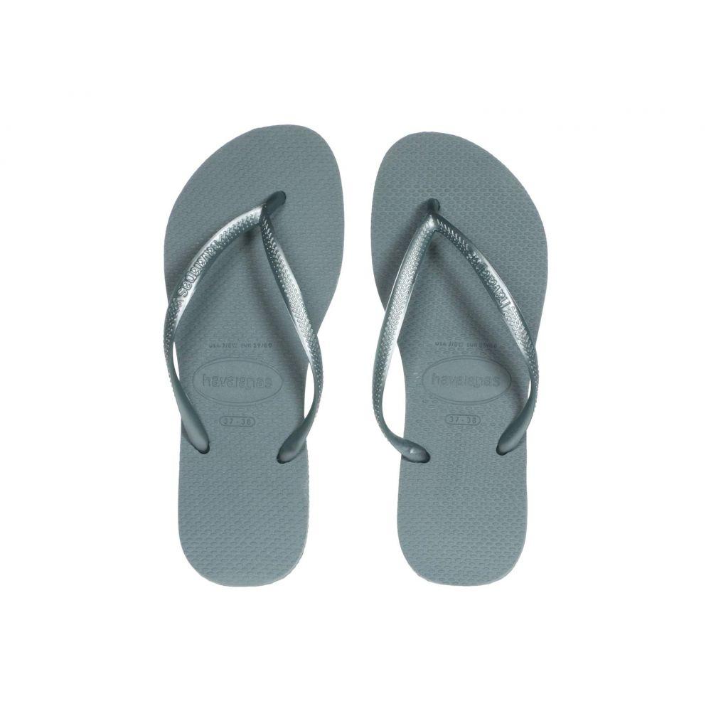 ハワイアナス Havaianas レディース ビーチサンダル シューズ・靴【Slim Flip Flops】Silver/Blue