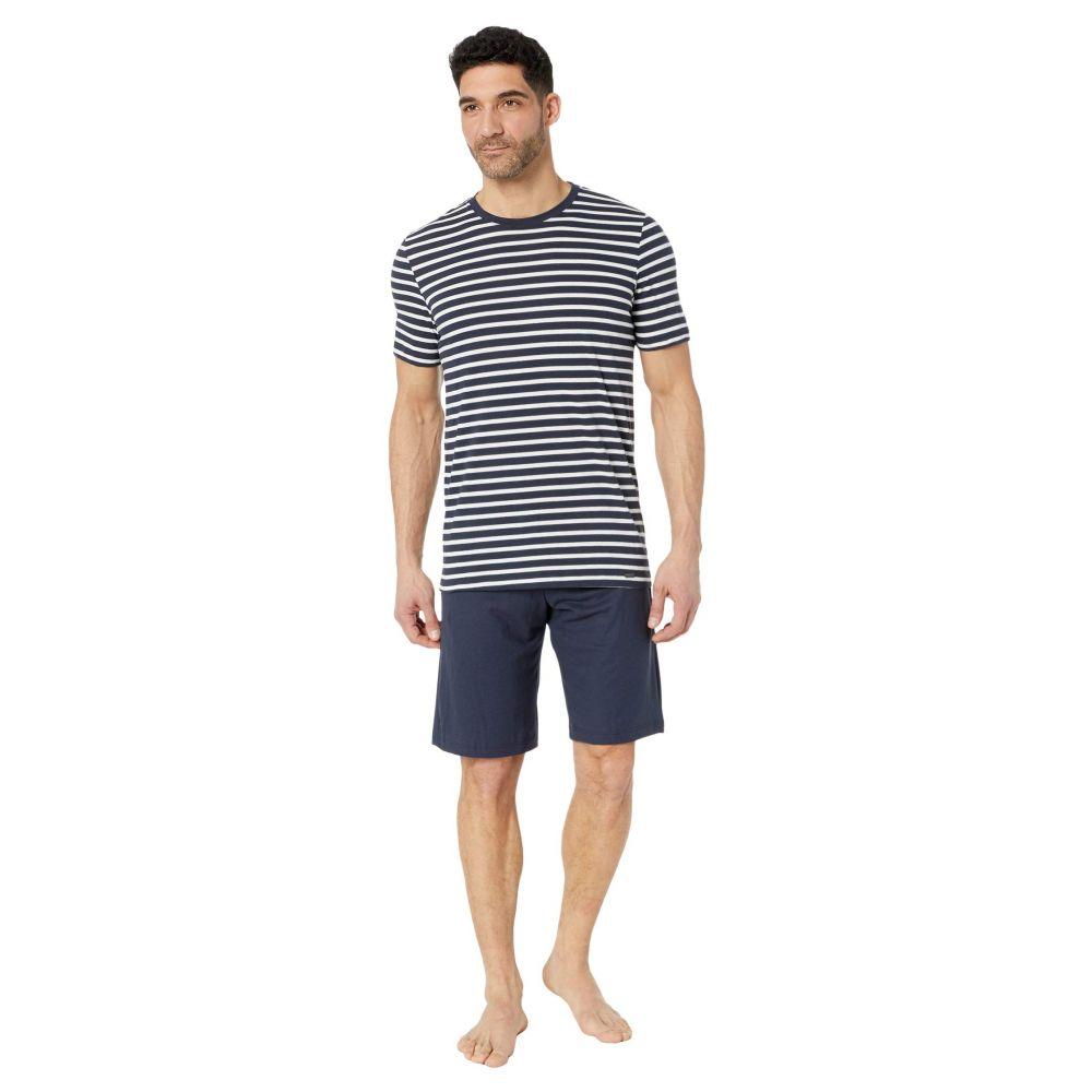 ハンロ Hanro メンズ パジャマ・上下セット インナー・下着【Night & Day Short Sleeve Pajama Set】Navy Stripe