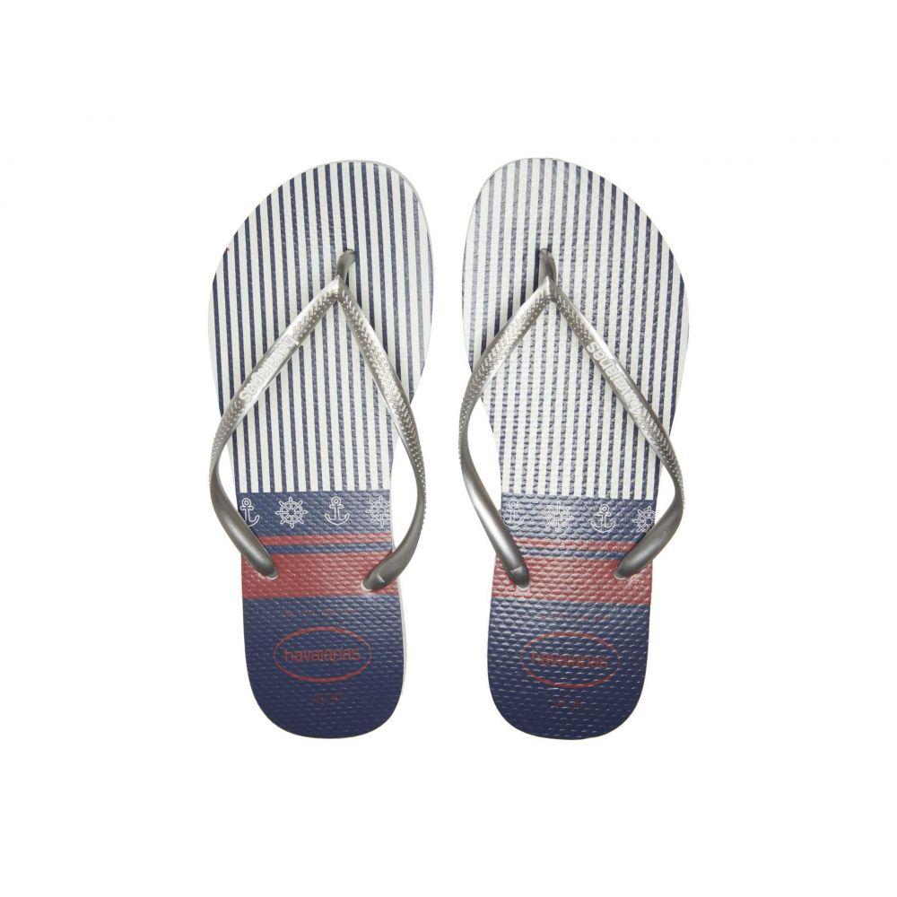 ハワイアナス Havaianas レディース ビーチサンダル シューズ・靴【Slim Nautical Flip-Flops】White/Silver