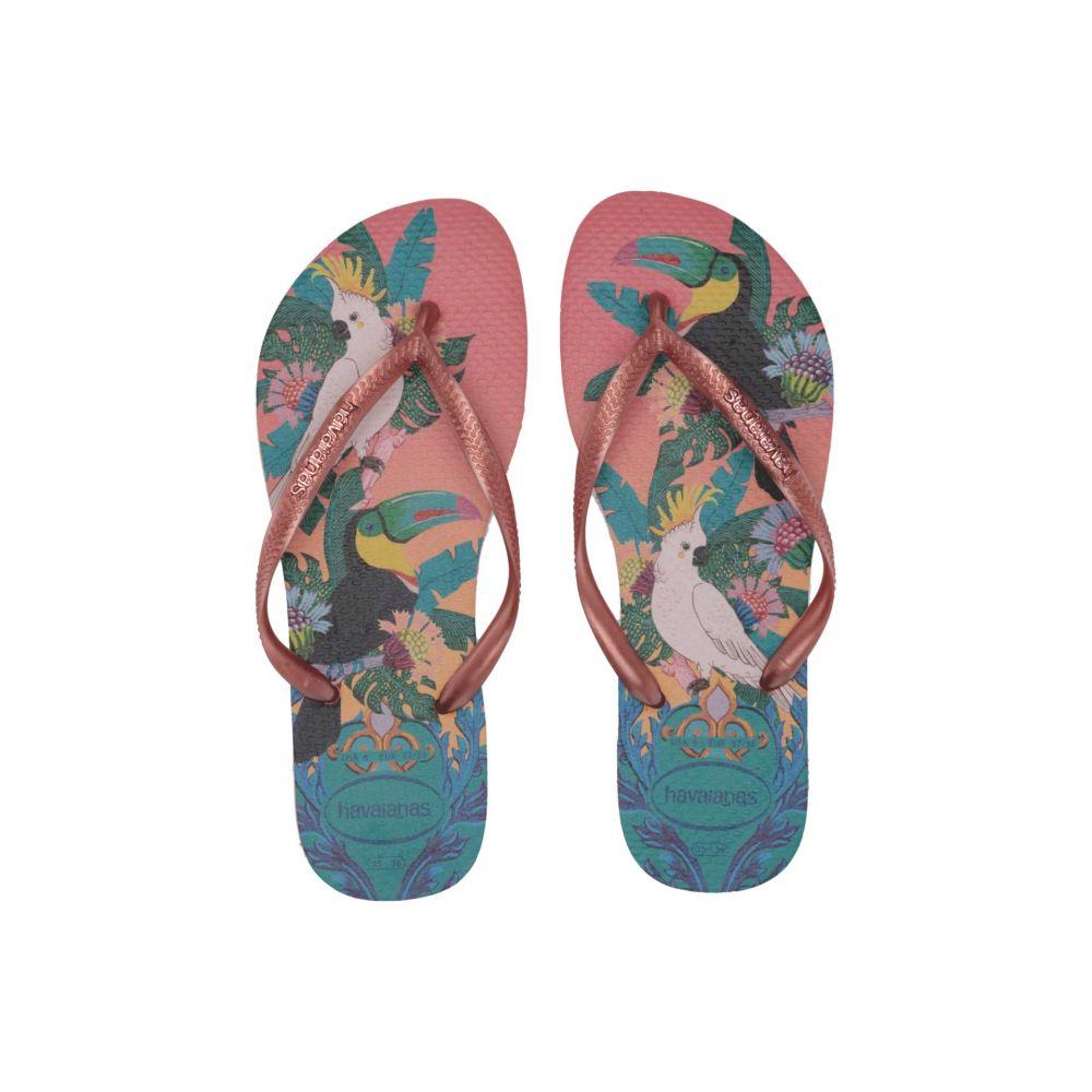 ハワイアナス Havaianas レディース ビーチサンダル シューズ・靴【Slim Tropical Flip Flops】Silk Rose