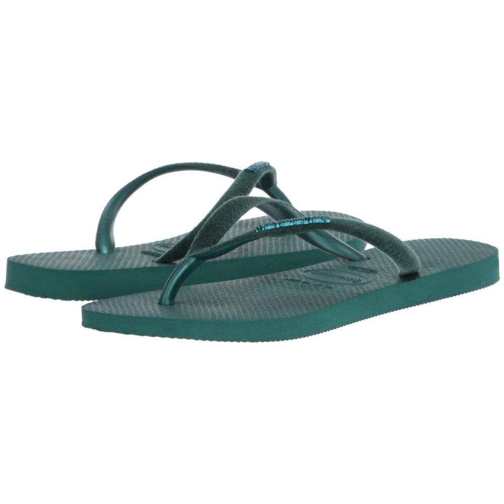 ハワイアナス Havaianas レディース ビーチサンダル シューズ・靴【Slim Velvet Flip-Flops】Green Leaf