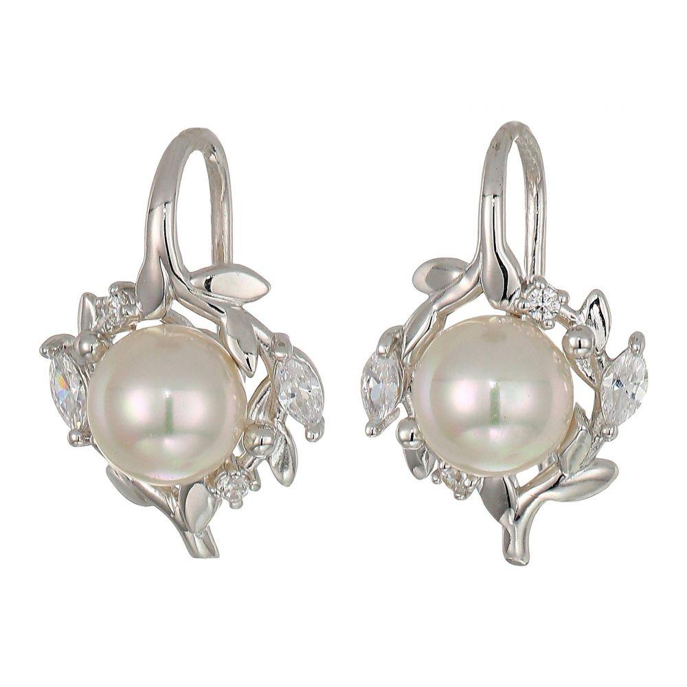 マジョリカ Majorica レディース イヤリング・ピアス ジュエリー・アクセサリー【Romance 7 mm Pearls Fish Wire CZ Sterling Silver Earrings】White
