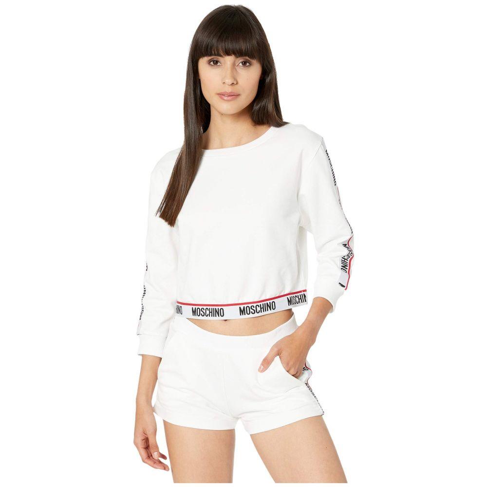 モスキーノ Moschino レディース フリース トップス【Basic Fleece Sweatshirt】White