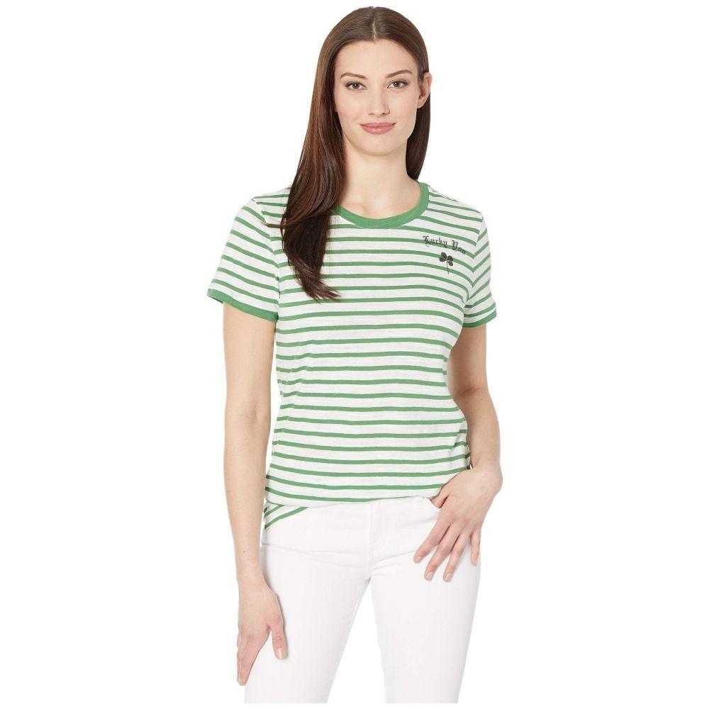 ラッキーブランド Lucky Brand レディース Tシャツ トップス【Short Sleeve Crew Neck Lucky You Striped Tee】Green Multi