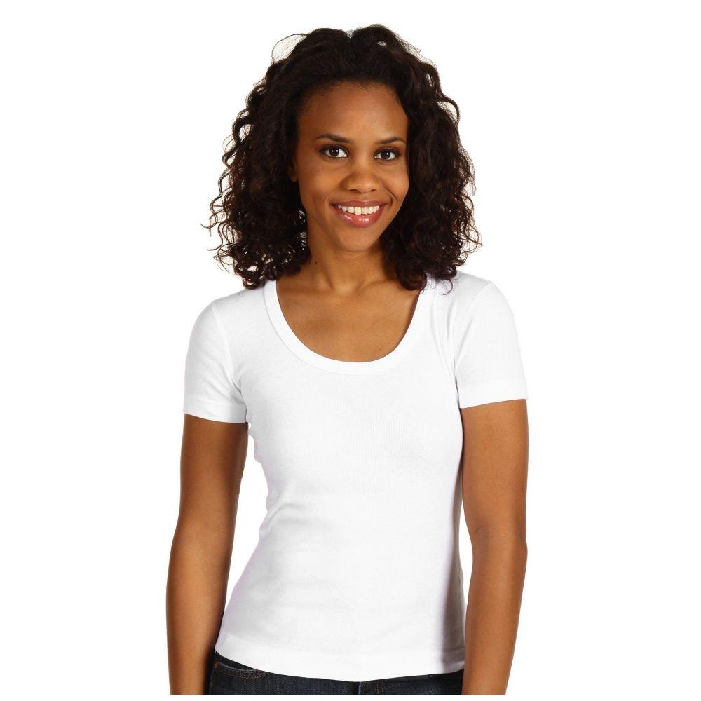 スリードッツ Three Dots レディース Tシャツ トップス【Lightweight S/S Scoop Neck】White