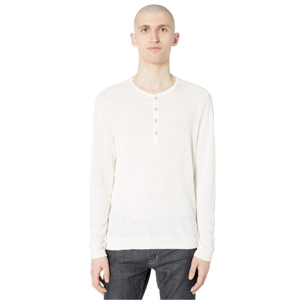 ジョン バルベイトス John Varvatos Collection メンズ Tシャツ ヘンリーシャツ トップス【Slim Fit Henley with Rib Stitch Y2784W1】Eggshell