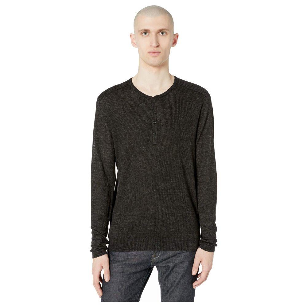 ジョン バルベイトス John Varvatos Collection メンズ Tシャツ ヘンリーシャツ トップス【Slim Fit Henley with Rib Stitch Y2784W1】Black