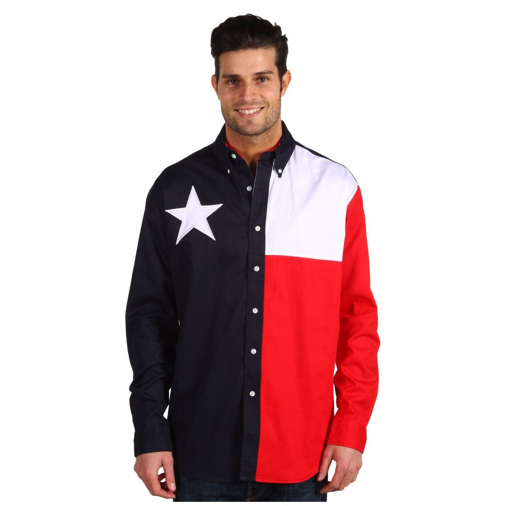 ローパー Roper メンズ シャツ トップス【L/S Pieced Texas Flag Shirt】Natural