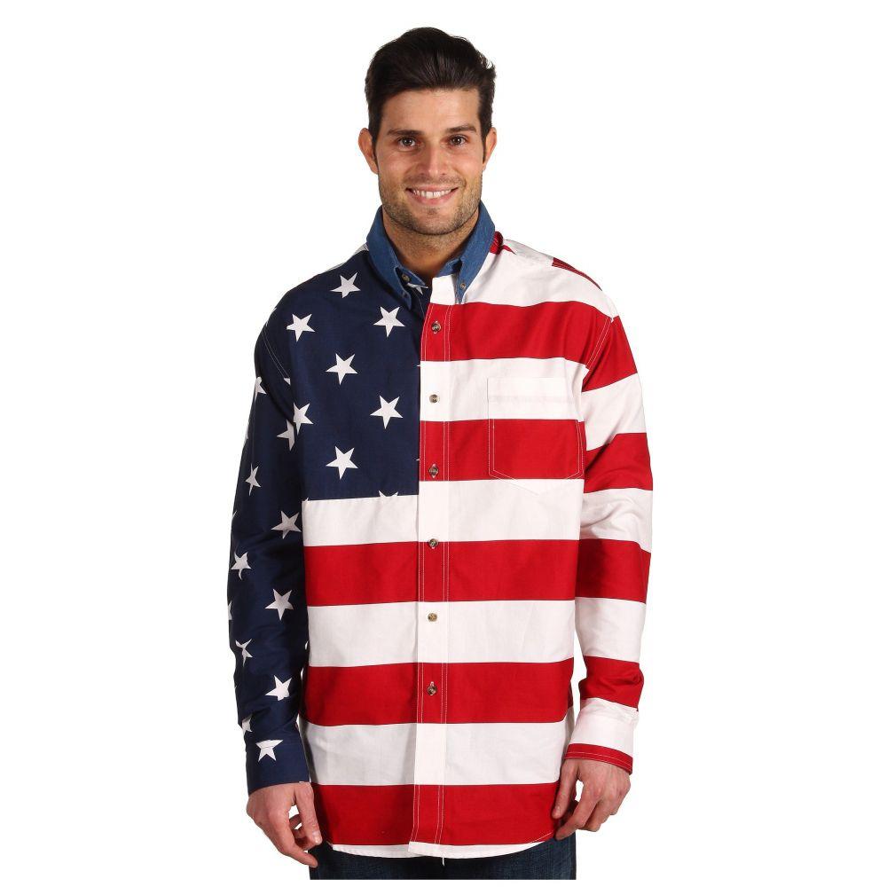 ローパー Roper メンズ シャツ トップス【Stars & Stripes Pieced Flag Shirt L/S】Red