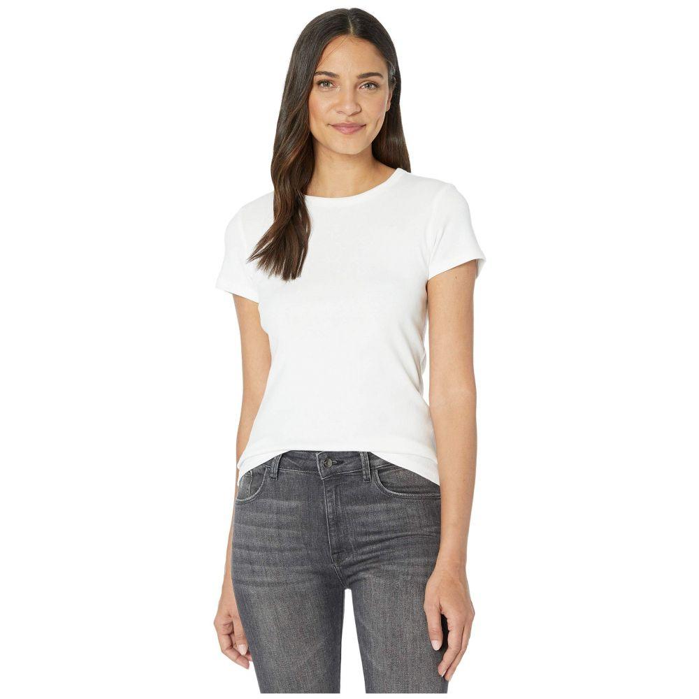 リラピー Lilla P レディース Tシャツ トップス【1x1 Rib Short Sleeve Crew Neck T-Shirt】White