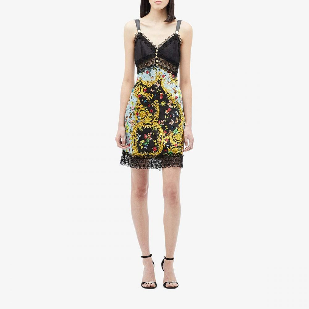 ヴェルサーチ Versace Jeans Couture レディース ワンピース スリップドレス ワンピース・ドレス【Lady Bug Print Slip Dress with Lace Trim】Mint