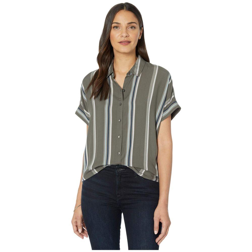 スプレンディッド Splendid レディース ブラウス・シャツ トップス【Lily Short Sleeve Button-Up Shirt】Olive Multi Stripe
