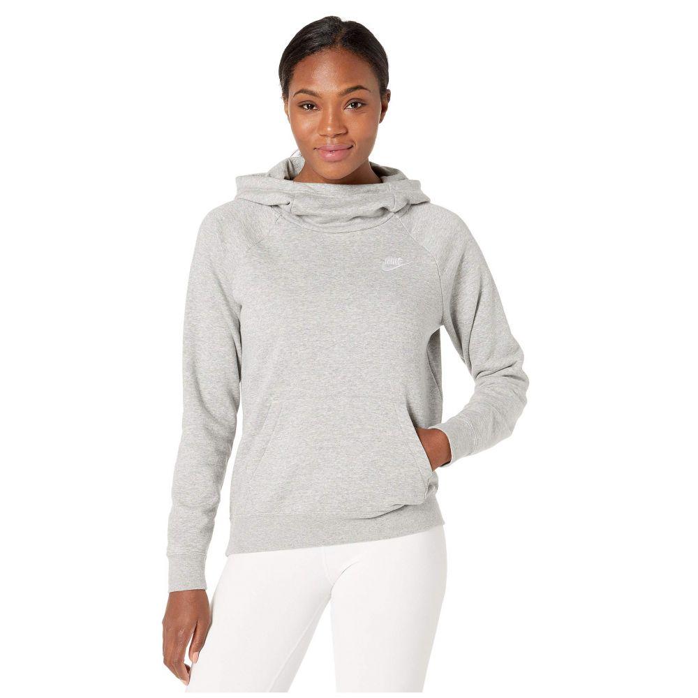 ナイキ Nike レディース フリース トップス【NSW Essential Funnel Pullover Fleece】Dark Grey Heather/White