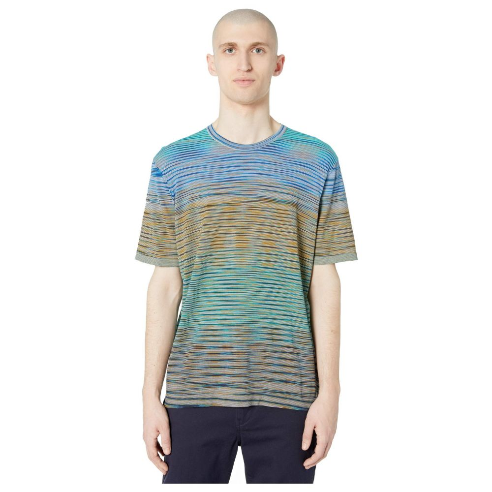 ミッソーニ Missoni メンズ Tシャツ トップス【Summer Sunset Knit T-Shirt】Blue Multi