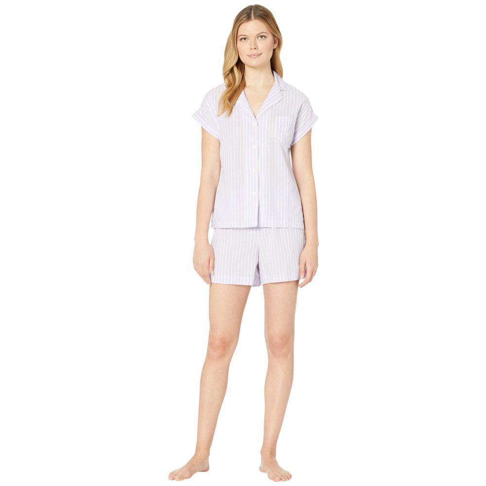 ラルフ ローレン LAUREN Ralph Lauren レディース パジャマ・上下セット インナー・下着【Classic Woven Short Sleeve Dolman Pointed Notch Collar Boxer Pajama Set】Lilac Stripe