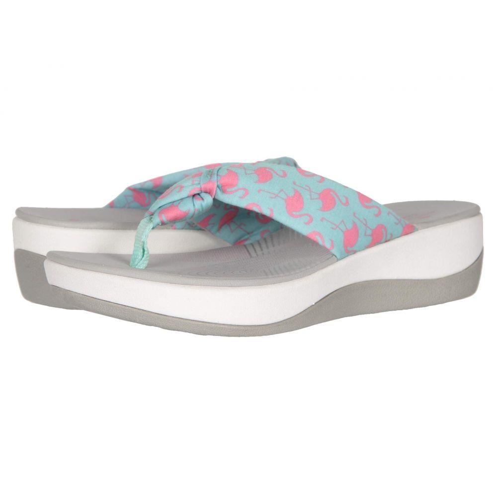 クラークス Clarks レディース ビーチサンダル シューズ・靴【Arla Glison】Aqua Textile/Pink Flamingos