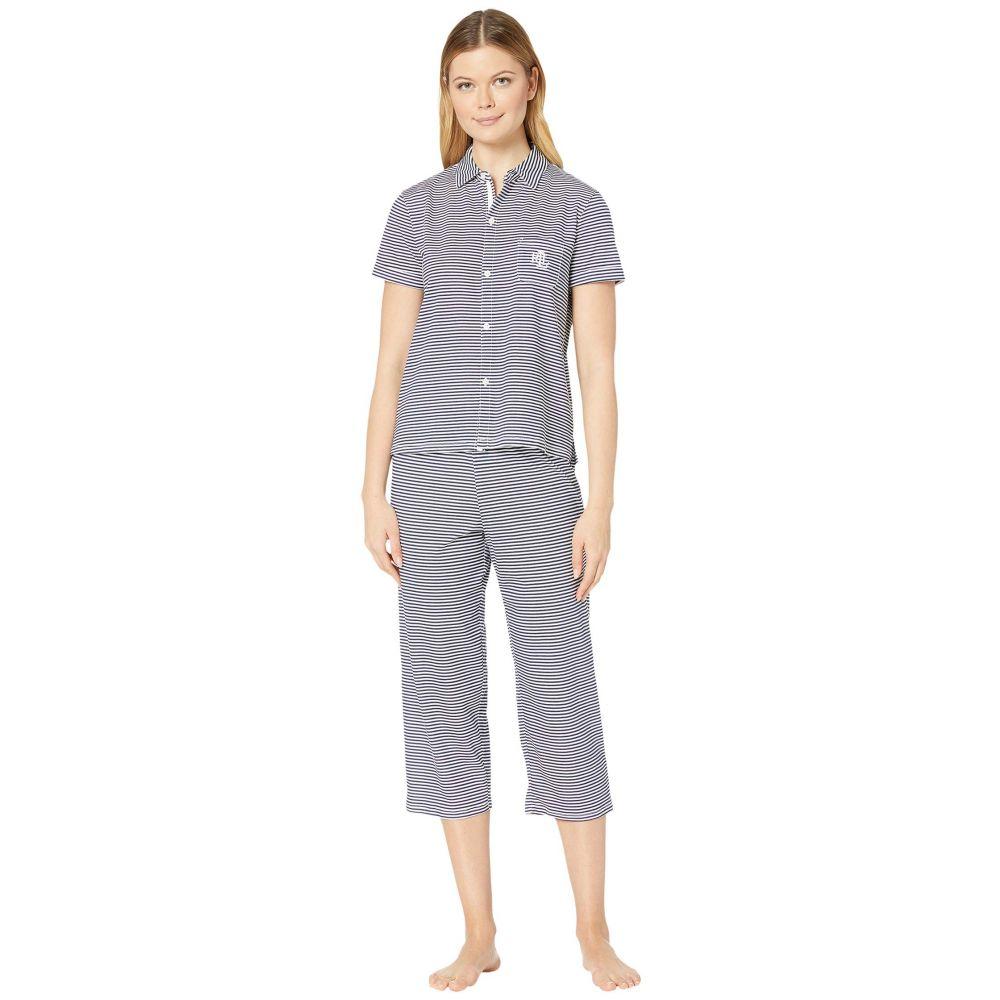ラルフ ローレン LAUREN Ralph Lauren レディース パジャマ・上下セット インナー・下着【Cotton Rayon Jersey Knit Short Sleeve His Shirt Capri Pants Pajama Set】Navy Stripe