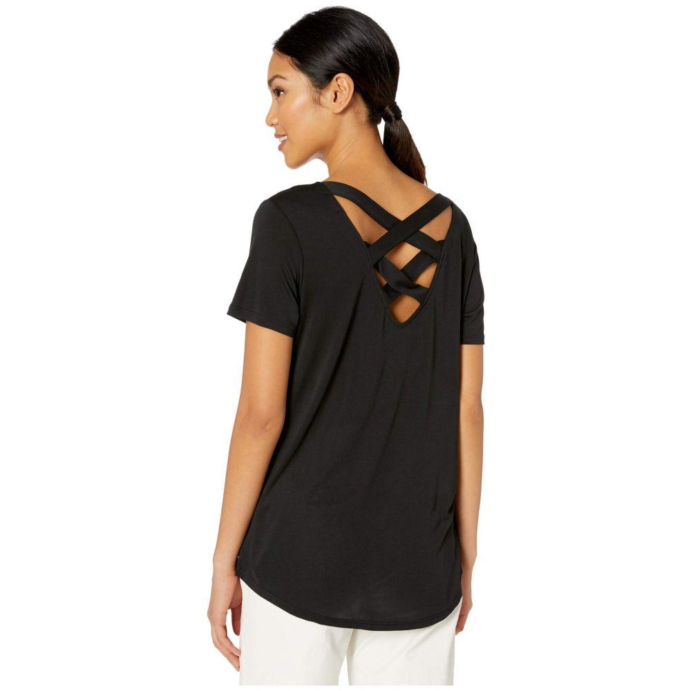トリバル Tribal レディース Tシャツ トップス【Short Sleeve Lace-Up Top】Black