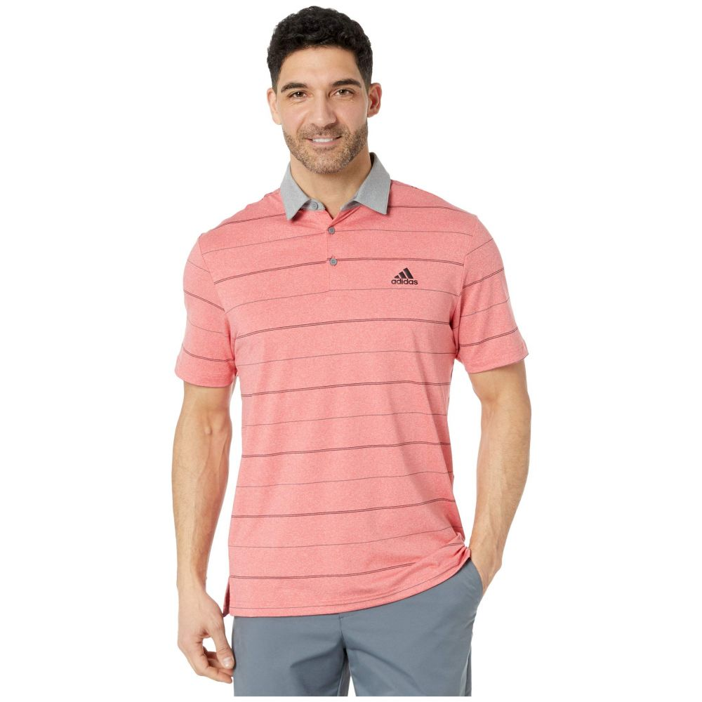 アディダス adidas Golf メンズ ポロシャツ トップス【Ultimate365 Heathered Stripe Polo Shirt】Real Coral Melange/Grey Three/Black