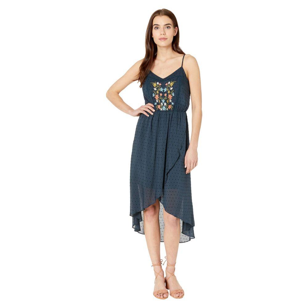 ミス ミー Miss Me レディース ワンピース レースアップ ワンピース・ドレス【Floral Embroidered Lace-Up Dress】Navy