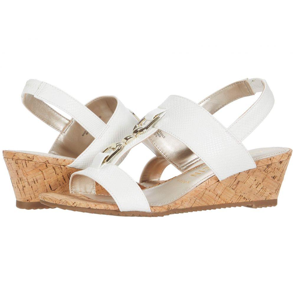 アン クライン Anne Klein レディース サンダル・ミュール ウェッジソール シューズ・靴【Varek Wedge Sandal】White