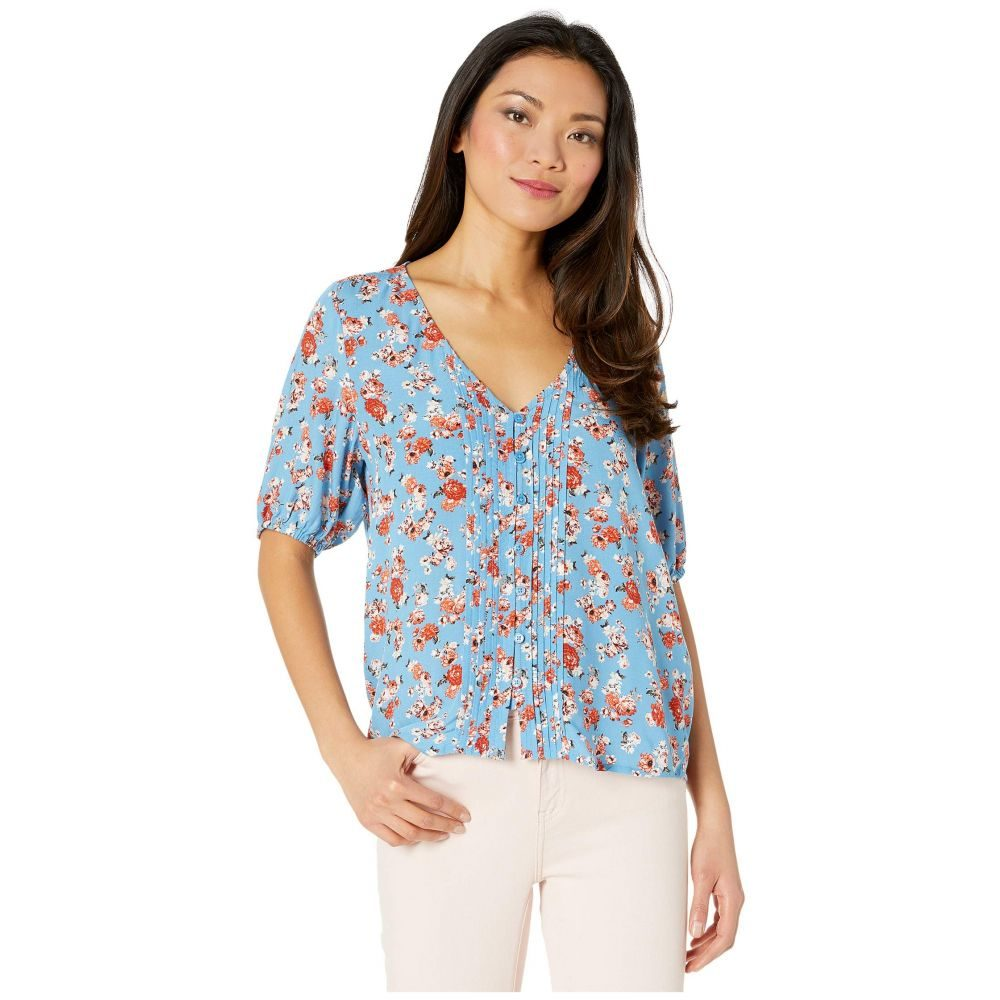 ラッキーブランド Lucky Brand レディース ブラウス・シャツ トップス【Short Sleeve Scoop Neck Floral Printed Pin Tuck Top】Blue Multi