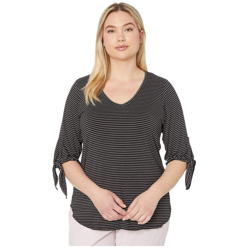 カレンケーン Karen Kane Plus レディース Tシャツ 大きいサイズ トップス【Plus Size Tie-Sleeve Shirttail Tee】Black