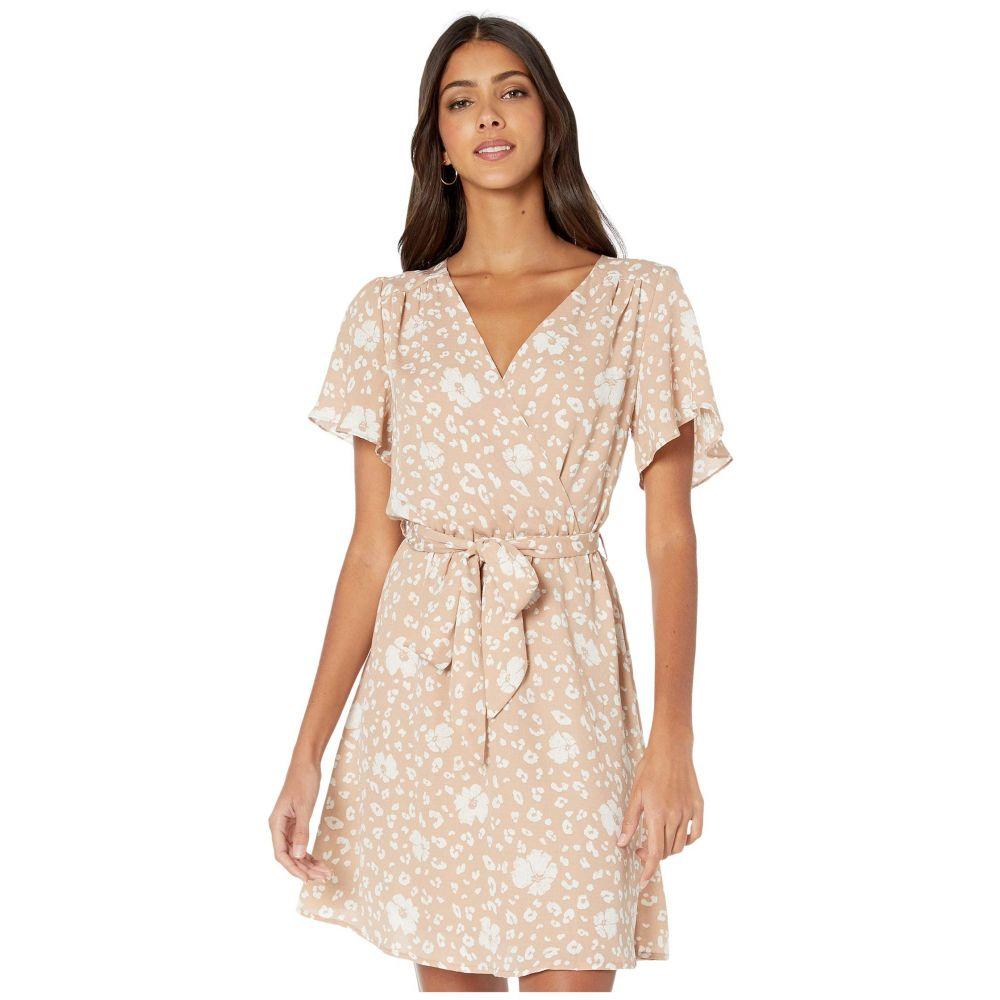 アメリカンローズ American Rose レディース ワンピース ラップドレス ワンピース・ドレス【Natalia Short Sleeve Floral Wrap Dress】Taupe/White